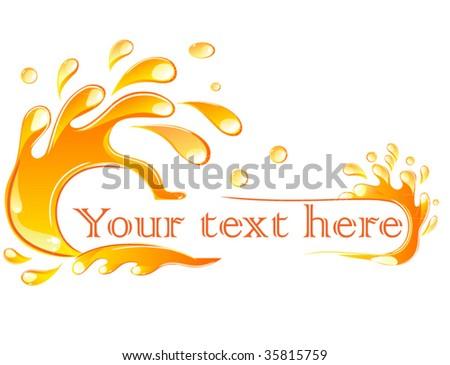 orange splash banner - stock vector