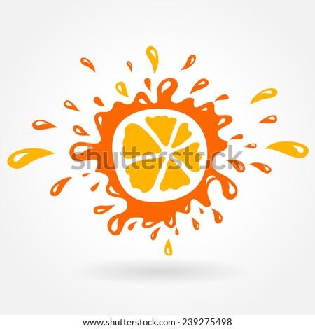 orange splash element - stock vector
