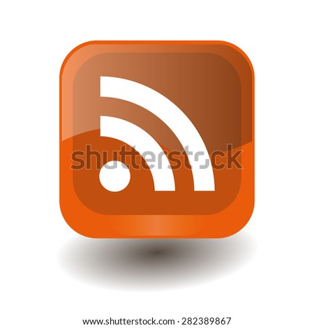Orange square button with white wi-fi sign, vector design for website