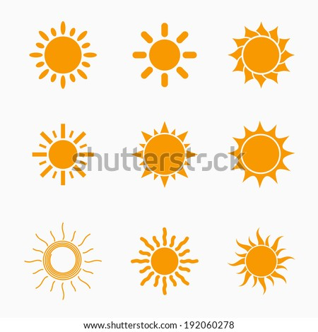 Orange Sun symbols set, collection of 9 different summer icons, vector illustration