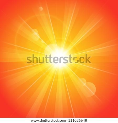 Orange sunny background - stock vector