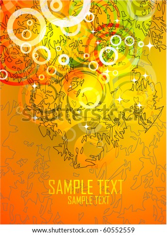Orange swirly background - stock vector