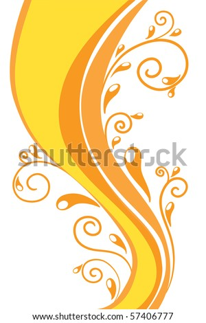 Orange swirly vector background - stock vector