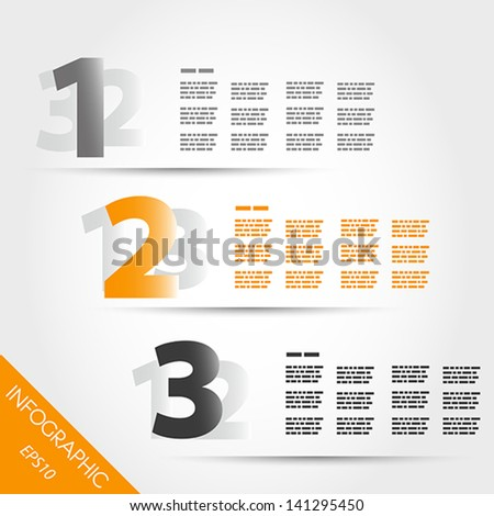 orange three number infographic options. infographic concept.