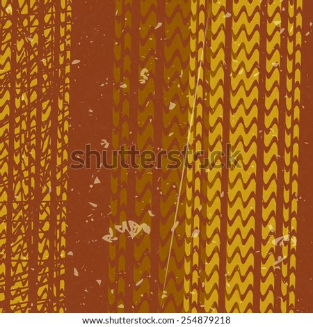 orange tire tracks over brown background - stock vector