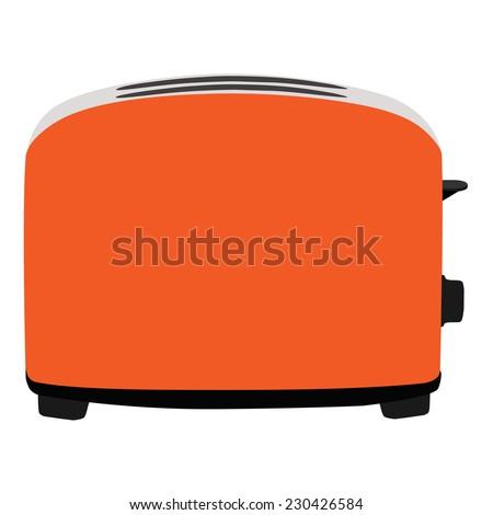 Orange toaster, toaster icon, toaster isolated, toaster vector - stock vector