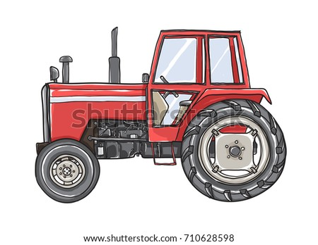 Orange Tractors Antique  Vintage  hand drawn vector art illustration