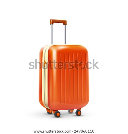 Orange travel plastic suitcase with wheels realistic on white background vector illustration - stock vector