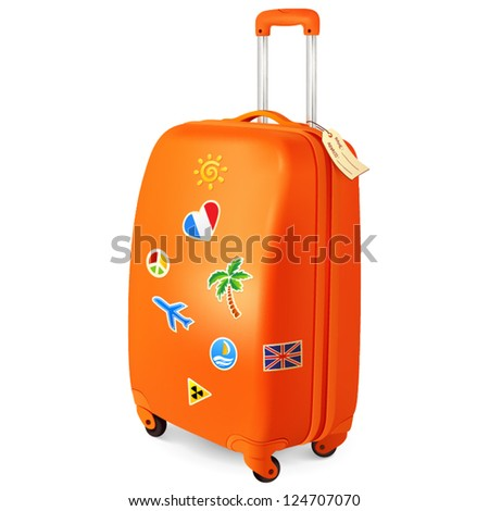 Orange travelling baggage vector suitcase with stickers - stock vector