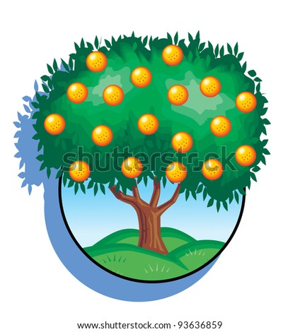 Summer Orange Tree Orange Fruits Green Stock Illustration ...