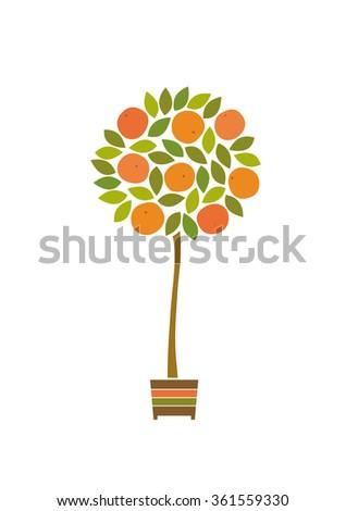 Orange tree isolated on white background. Vector illustration.  - stock vector