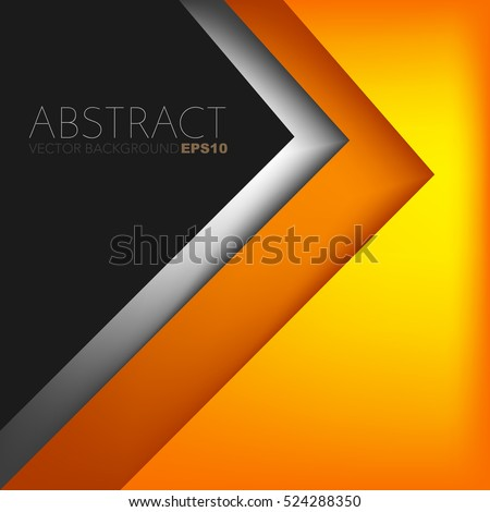 Orange triangle vector background with overlap paper layer gradient color with space for text and message artwork design
