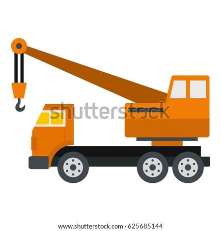 Orange Truck Crane Icon Flat Isolated On White Background Vector Illustration