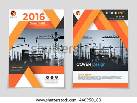 construction brochure templates - orange under construction annual report brochure stock