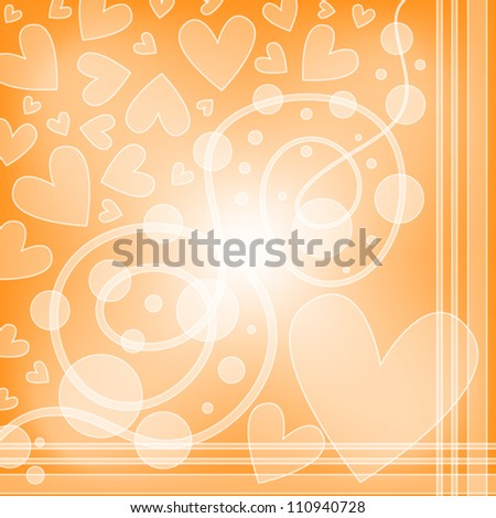Orange vector background with white hearts and curls