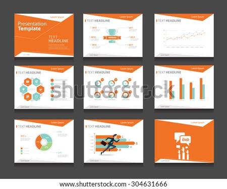 orange vector business presentation slides template stock vector