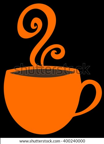 Orange vector cup with coffee tea, or hot chocolate and steam on black background. Bright mug with copy space.