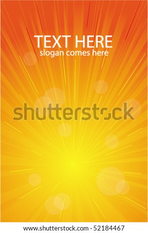 Orange vector light burst, abstract background - stock vector