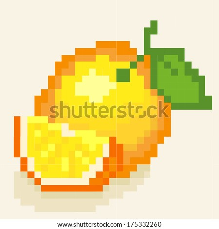 Orange. Vector pixel art