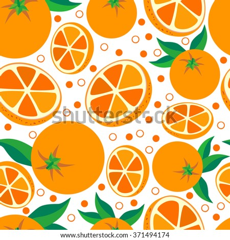 Orange. Vector seamless background with oranges on white background. Vegetarian. Elements for your design.Textile and wallpaper background. Series of food and drink and ingredients for cooking. - stock vector