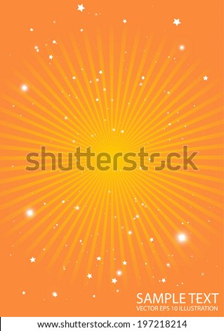 Orange vector starburst background sun rays - Abstract star burst in orange space vector illustration - stock vector