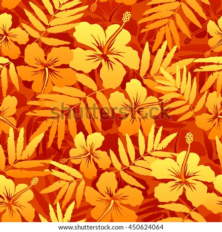 Orange vector tropical flowers seamless pattern - stock vector