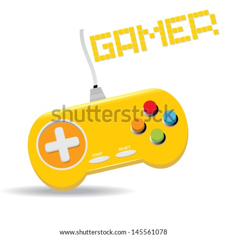 Orange Video game Controller Icon. vector illustration. game pad or video game console icon - stock vector