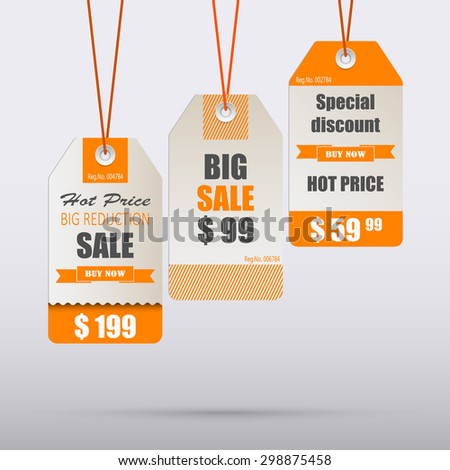 Orange vintage tag for sale template - stock vector