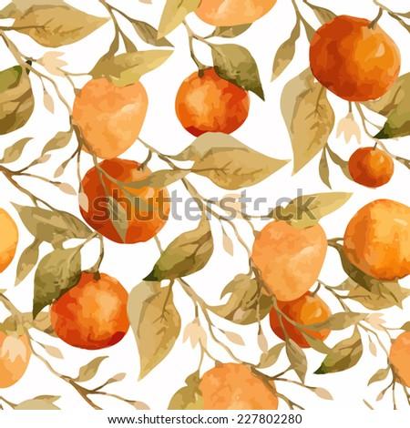 orange, watercolor, pattern - stock vector