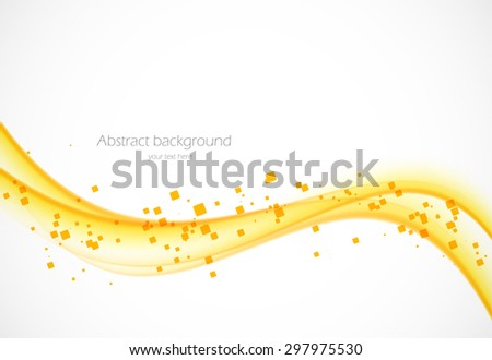 orange wave background with squares vector illustration - stock vector