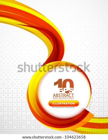 Orange wavy abstract background with abstract swirly circle for text - stock vector