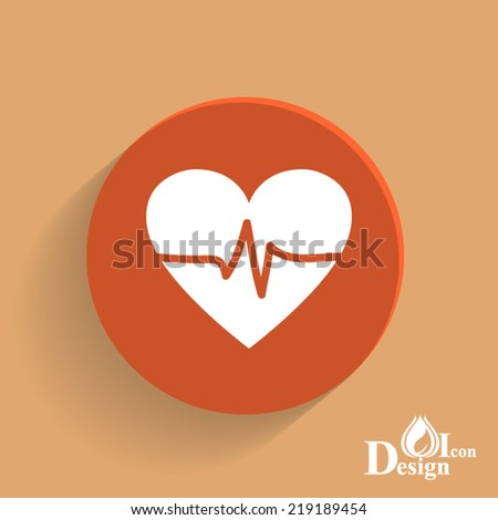 Orange web button.Flat design with shadow  - stock vector