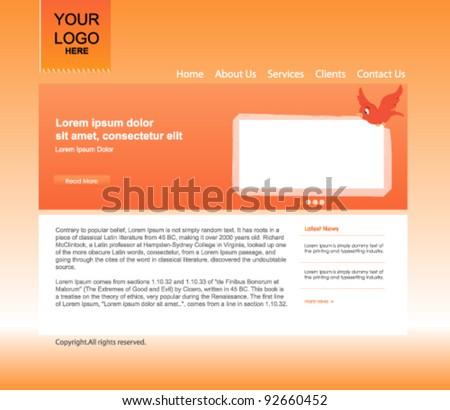 Orange website template - stock vector