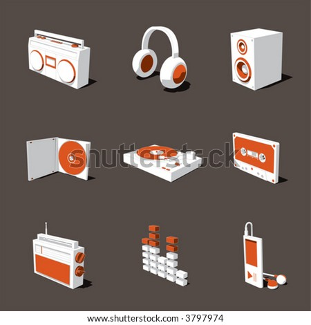 orange-white 3D icon set 07
