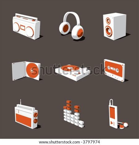 orange-white 3D icon set 07 - stock vector