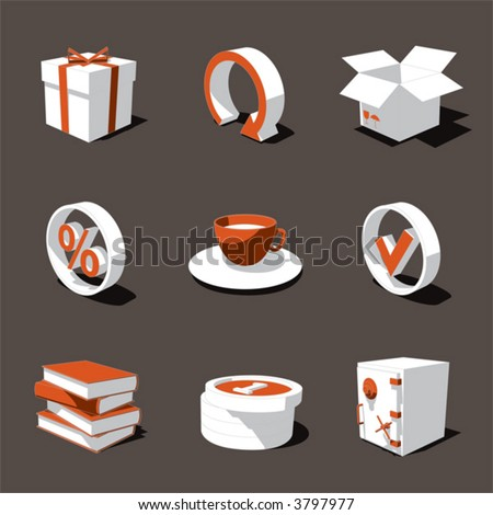 orange-white 3D icon set 04 - stock vector