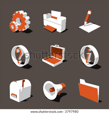orange-white 3D icon set 02 - stock vector