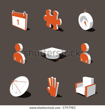 orange-white 3D icon set 05 - stock vector