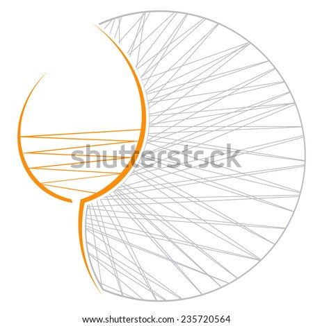 orange wine glass with gray coaster on a white background - stock vector