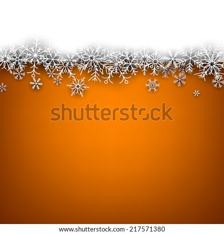 Orange winter abstract background. Christmas background with paper snowflakes. Vector.  - stock vector