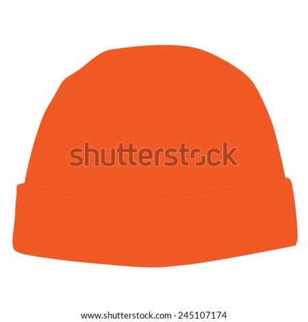 Orange winter hat vector isolated, snowboarding hat - stock vector