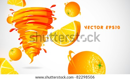 orange with juicy twister - stock vector