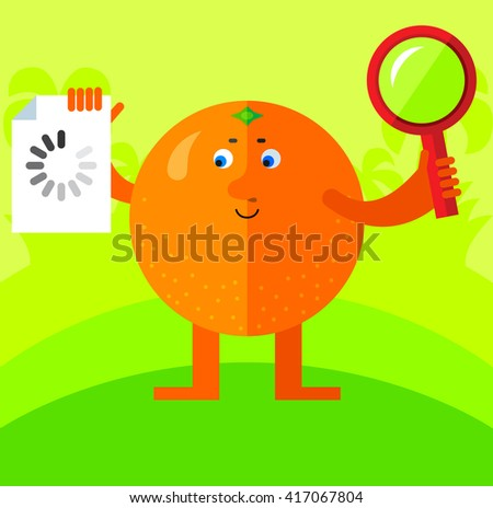 Orange with magnifier glass and preloader icon. Searching. Flat style vector illustration. Funny cartoon character for agriculture or food design, tropical citrus fruit - stock vector