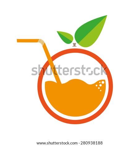 Orange with Straw Logo. Flat Minimalism Artwork - stock vector