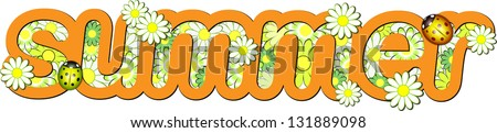 Orange word Summer - stock vector