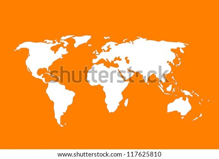 Orange world map - stock vector