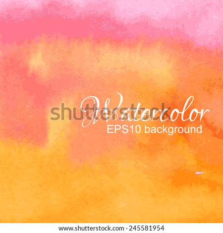 Orange, yellow and red watercolor vector background. - stock vector