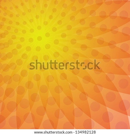 Orange yellow halo consists of points. - stock vector