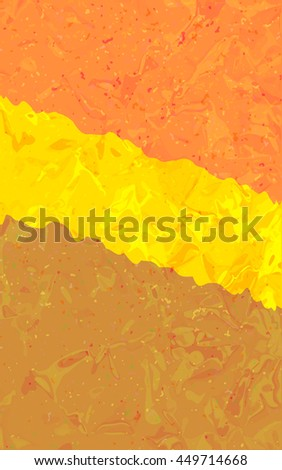 orange yellow stripes crumpled material card, vector background