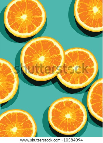 oranges on blue - stock vector